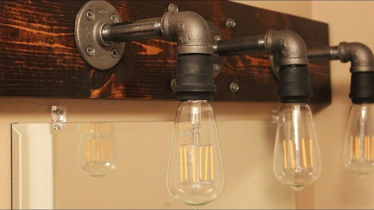 Diy Industrial Bathroom Light Fixtures Youtube