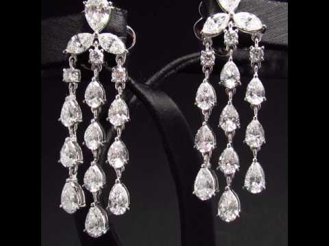 Pear shaped dangle diamond earrings | Bee's Diamonds