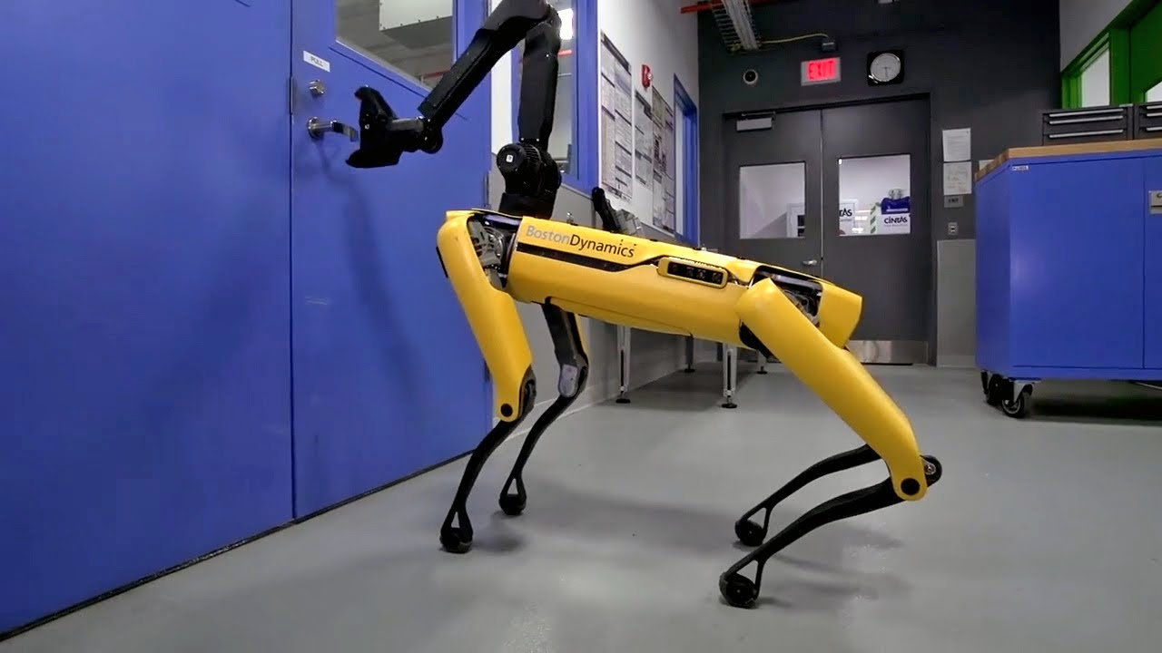 New Dog Like Robot From Boston Dynamics Can Open Doors Youtube