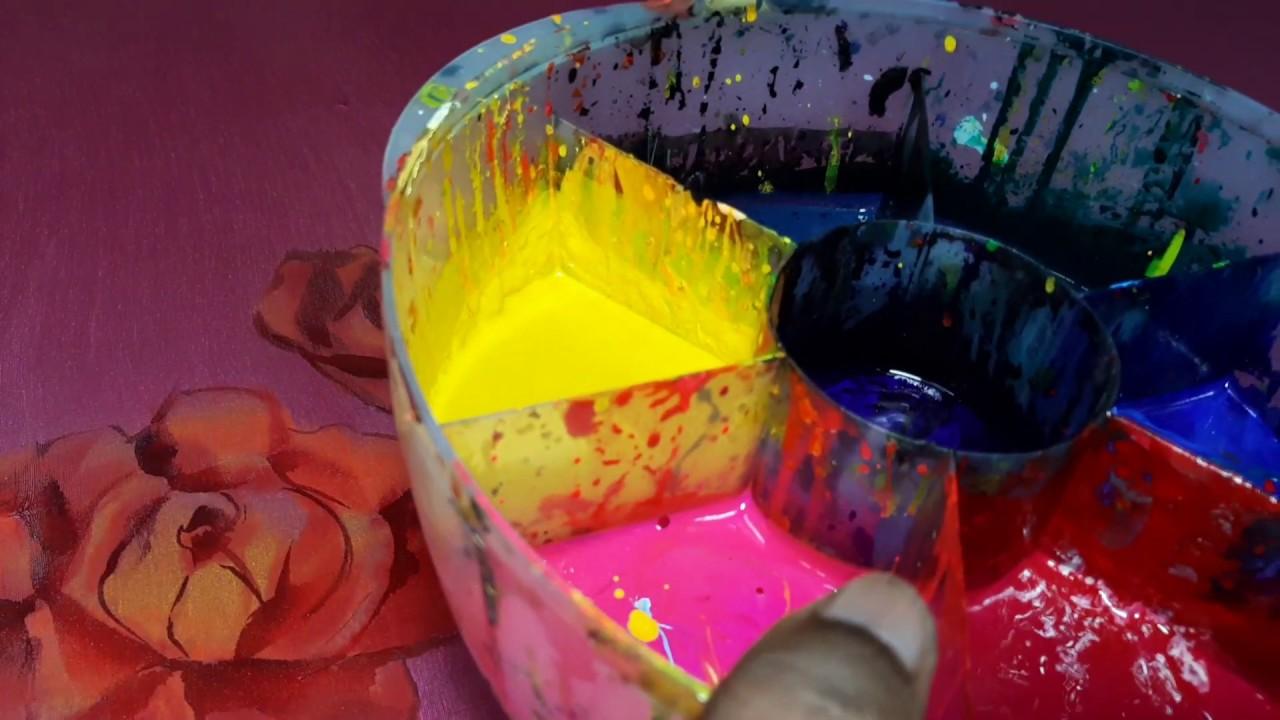 হ্যান্ড পেইন্ট করার নিয়ম। হাফ সিক্ল শাড়িতে গোলাপ ফুল হ্যান্ড পেইন্টিং। How to Hand painted design.