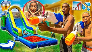 SURPRISING THE KIDS WITH A WATERSLIDE BOUNCE HOUSE! (STAY HOME FUNDAY)