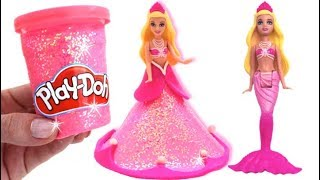 Learn Colors Play Doh Making Colorful Barbie Princess Dress Surprise Fruit Toys