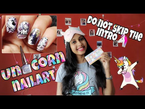 Easy Reverse Stamping Nail Art Tutorial | Cute Unicorn Nail Art thumbnail