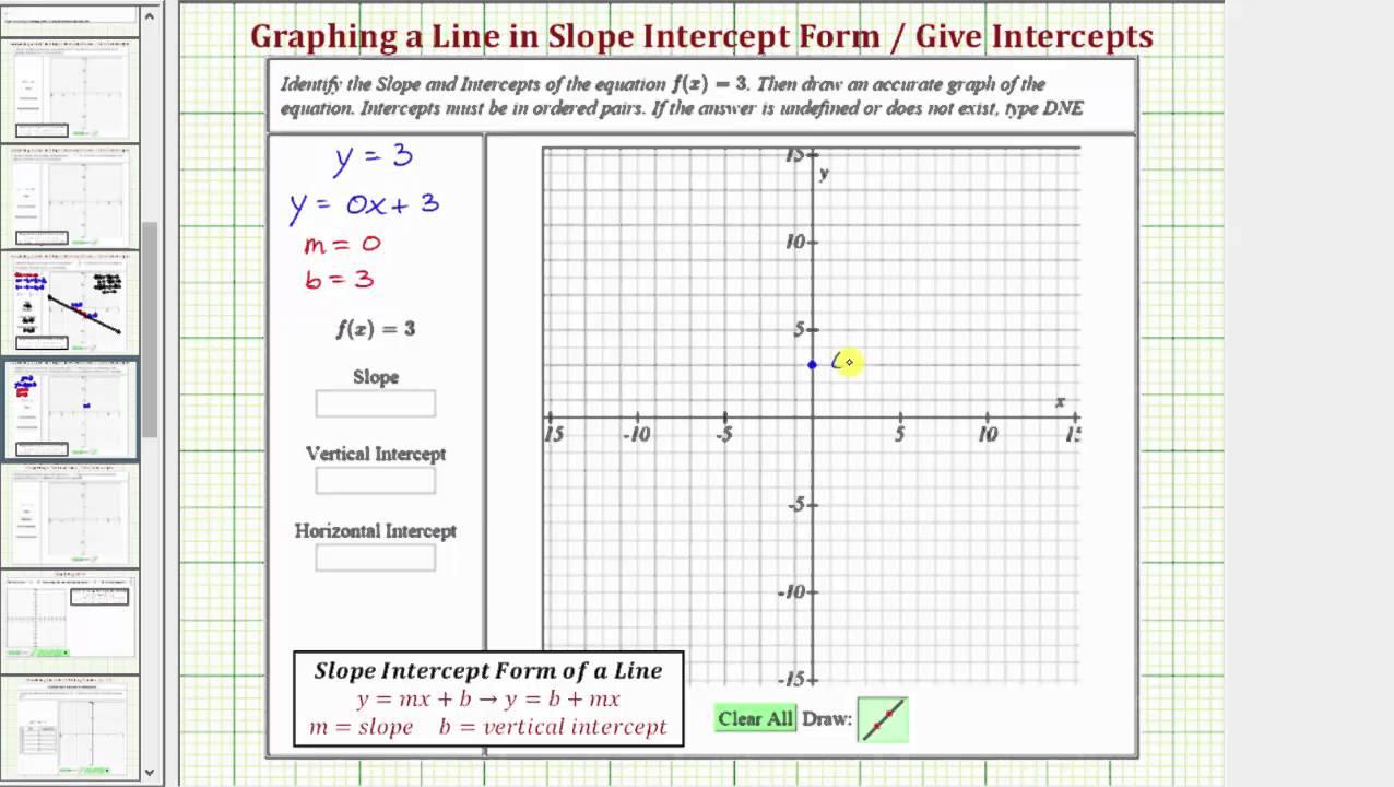 slope intercept form horizontal line  Ex: Graphing a Horizontal Line and ID the Slope and Intercepts