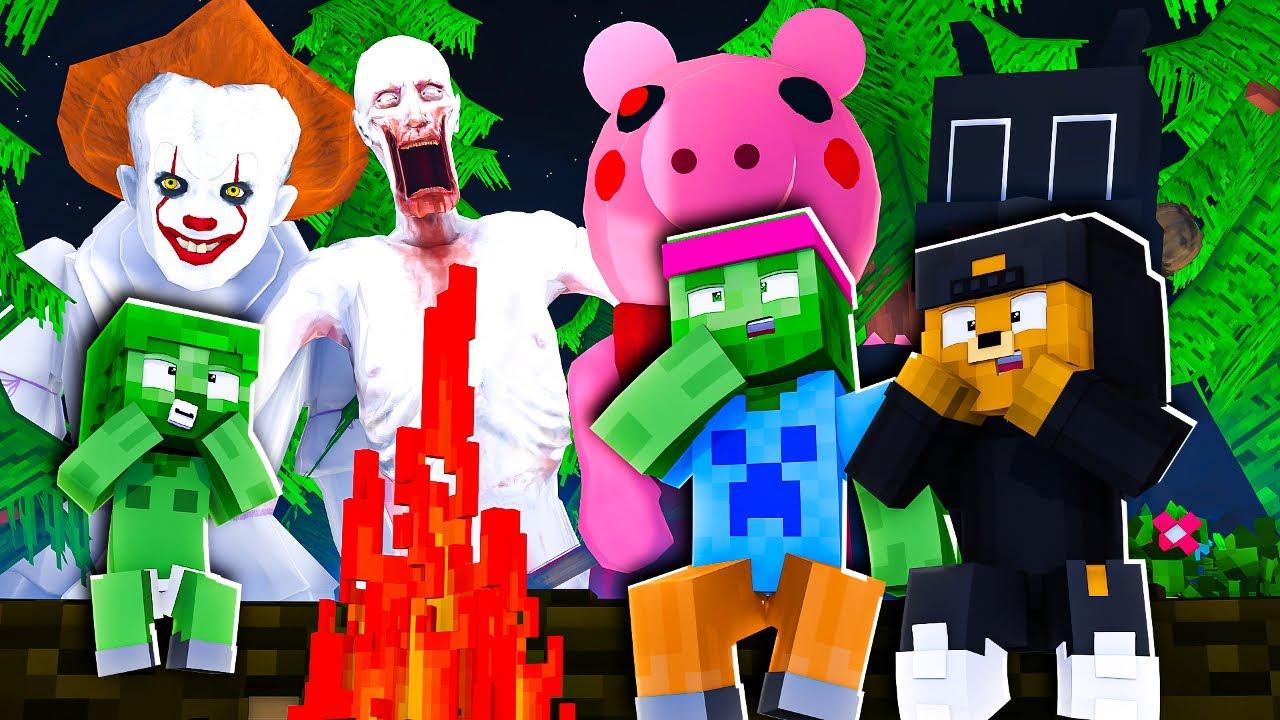 Download 1 NUIT en FORÊT avec les MONSTRES PRÉHISTORIQUES Minecraft + DF35 détruite ! 💥😨 Famille Diabolo