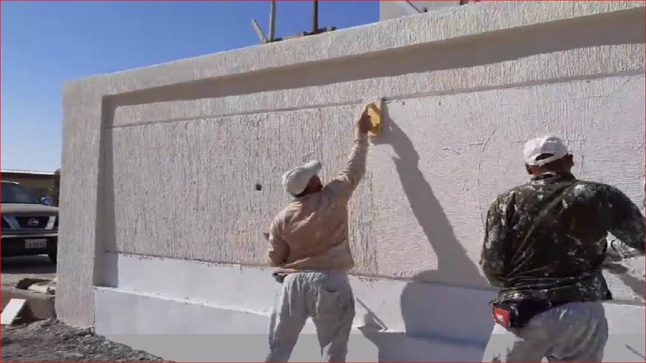 How To Concrete Stone Wall بناء الأسوار بلطرق الحديثه بأقل تكلفة من الحجر والخلطة الرغويه آلي هيه مت Youtube