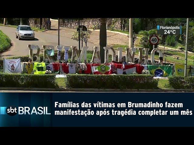 Famílias das vítimas em Brumadinho fazem manifestação após 1 mês da tragédia | SBT Brasil (25/02/19)