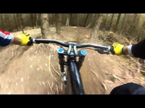 Gee Atherton flat out down the far side track at Revolution Bike Park - Llangynog