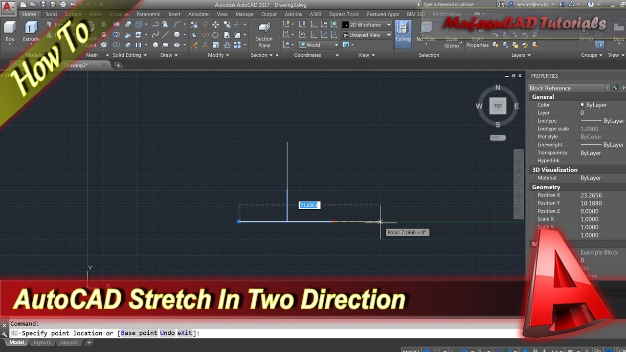 Autocad Tutorial Dynamic Block Stretch In Two Direction