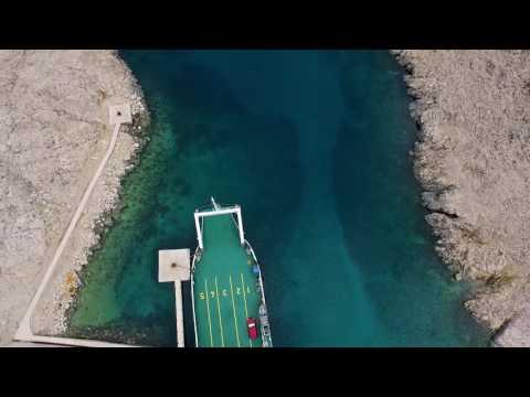 Croatia Island Pag Žigljen (Zigljen) Ferry port aerial footage & timelapse