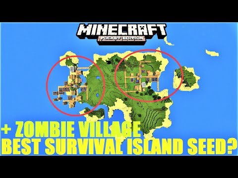 Minecraft PE - BEST SURVIVAL ISLAND SEED FOR MCPE 1.2 ? DOUBLE ISLAND + ZOMBIE VILLAGE SEED !