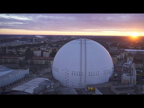 2568. Globen (Stockholm Globe Arena) Drone Stock Footage Video