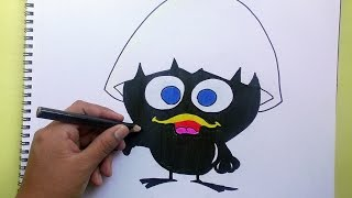 Dibujando y coloreando a Calimero - Drawing and coloring to Calimero