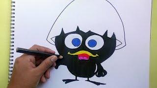 Dibujando y coloreando a Calimero - Drawing and coloring to Calimero
