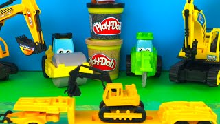 CAT MIGHTY MACHINES EXCAVATOR BULLDOZER FRONT LOADER AND TRAINS TRUCKS WITH PLAYDOH FUN