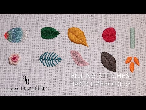 Hand Embroidery for Beginners  - 10 Basic filling stitches- Leaves  I Embroidery flower Design