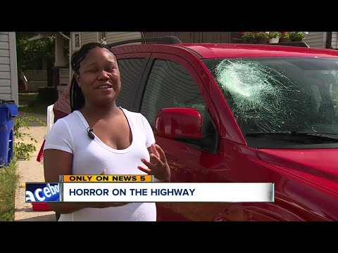 Pregnant mom terrified after rock crashes through her windshield on Interstate 90 near West 117th