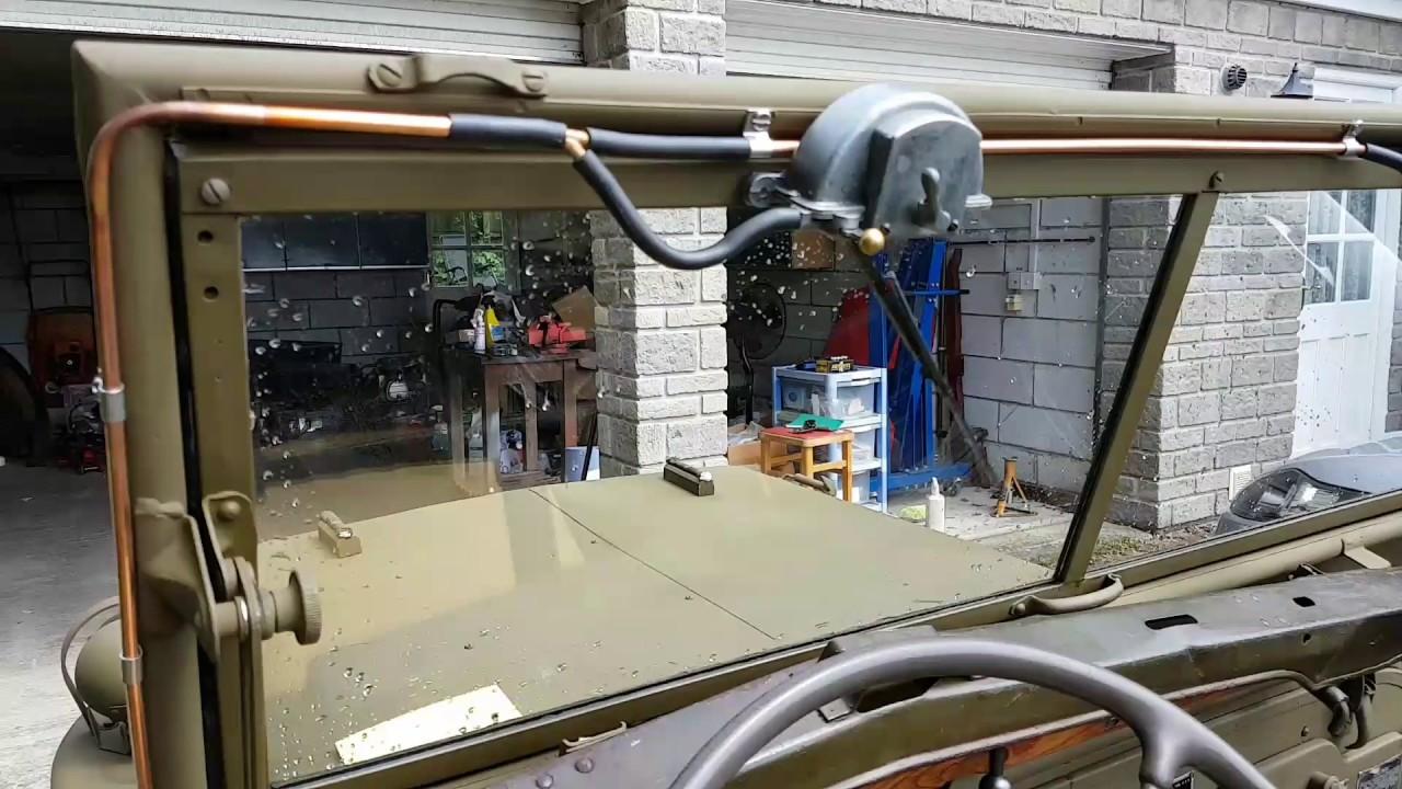 Willys Jeep Truck >> WW2 jeep Trico vacuum wiper motor test GPW MB - YouTube