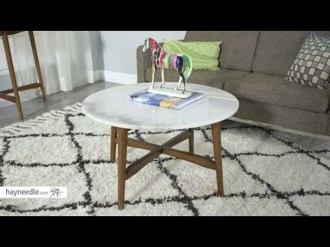Belham Living James Round Mid Century Modern Marble Coffee Table