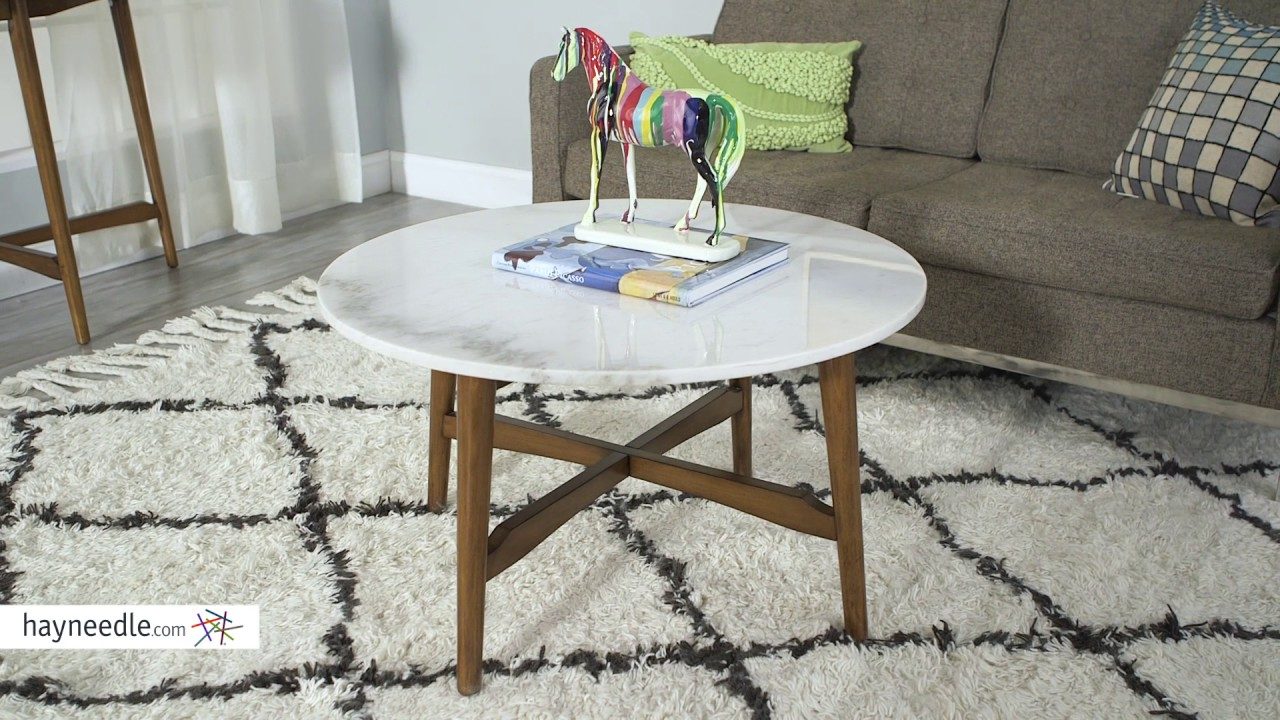 Belham Living James Round Mid Century Modern Marble Coffee Table   Product  Review Video