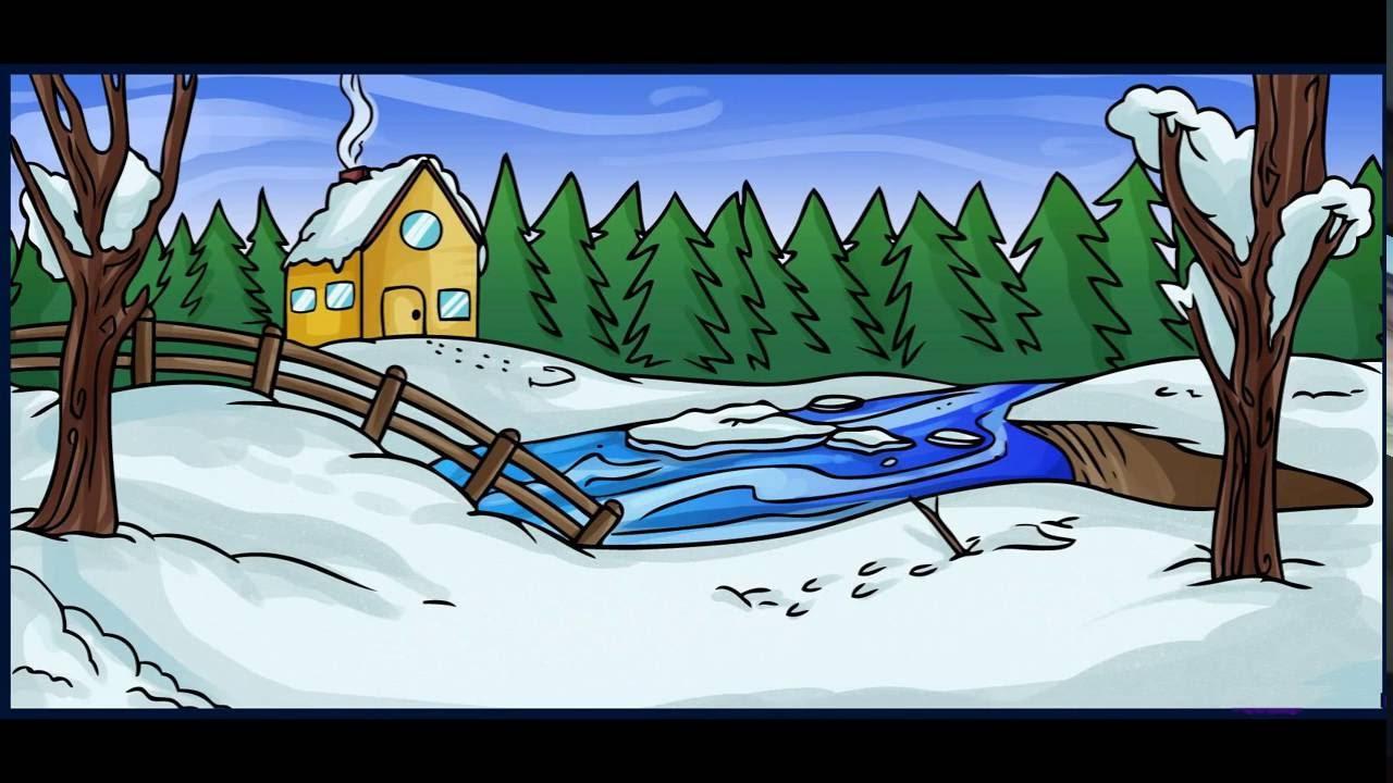 كيفية رسم منظر طبيعي في فصل الشتاء للاطفال