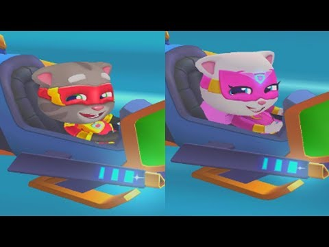 TOM VS ANGELA LASER SHIP RACE - TALKING TOM HERO DASH