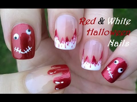 Three Red & White Halloween Nail Art Designs - DIY Bloody ...