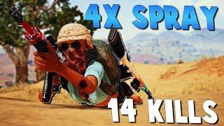 4X M416 SPRAY CONTROL! PlayerUnknown's Battlegrounds (PUBG)