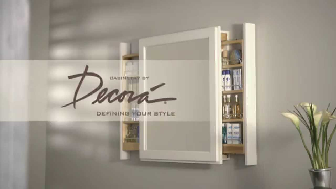 Bath Mirror With Pullout Storage | Decorá Cabinets   YouTube