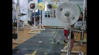 Тяжёлая атлетика Хафизов И  вк 46  15 лет Попытка встать 100 кг на груди