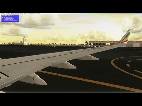 FSX 2016 REALISTIC HD ETHIOPIAN PDMG NGX 737 LANDING AT DUBAI NIGHT FLIGHT