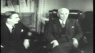Anthony Eden and Lord Halifax meet Cordell Hull in the US to discuss the problems...HD Stock Footage