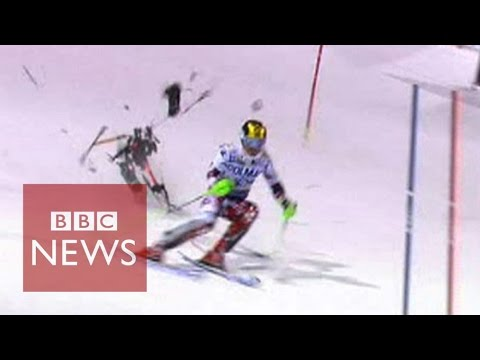 Drone narrowly misses skier Marcel Hirscher during slalom race  - BBC News
