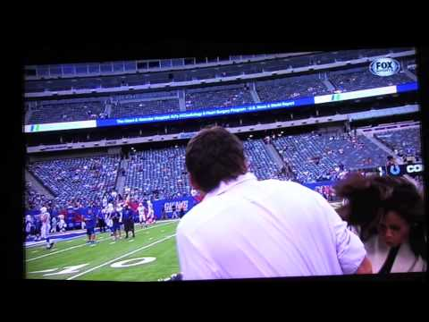 Pam Oliver gets hit in the head during preseason game 8.18.13 ouch!