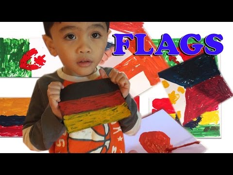 Learning ABC painting Flags of the world A-Z using crayon melt