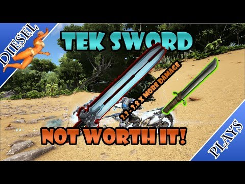 ART OF ARK   TEK SWORD VS METAL SWORD!