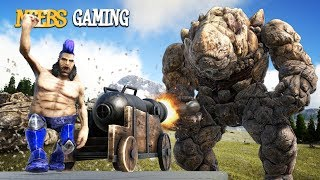 ARK Survival Evolved - Will This Work? (Rock Golem  VS Cannon)
