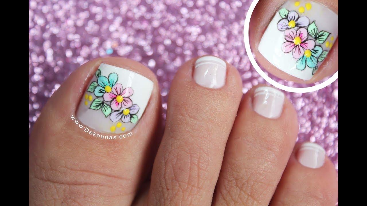 Diseño De Uñas Pies De Flores Easy Flowers Toenail Youtube
