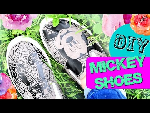 Diy Trendy Iron On Mickey Shoes Youtube