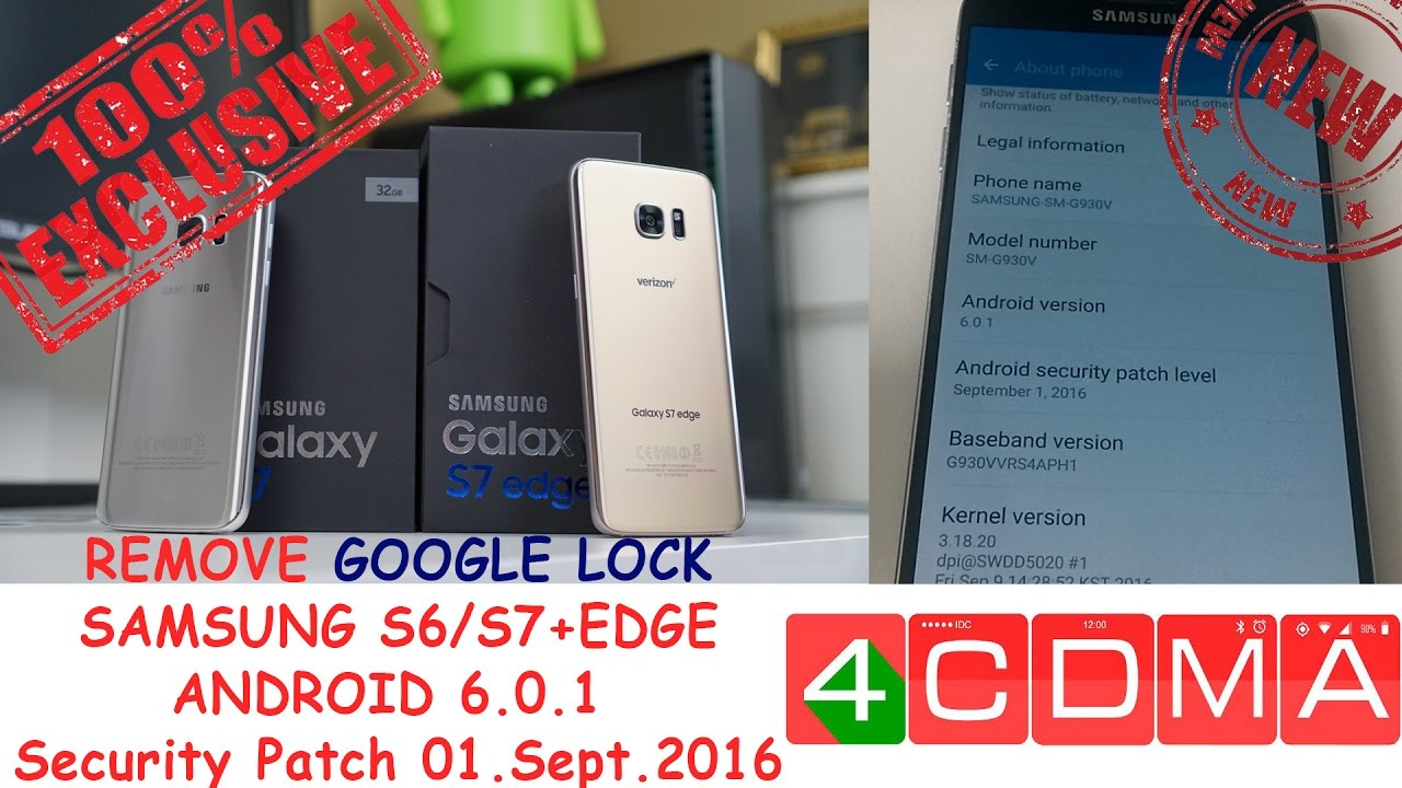 Samsung S6/S7/Edge Remove, Disable, Bypass Google Account Lock FRP!!Google  Patch 09/2016!!