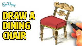 How to draw a dining chair - pencil & wash technique