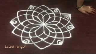 latest rangoli friday kolam design 3 dots || sravanamasam special || beautiful lotus