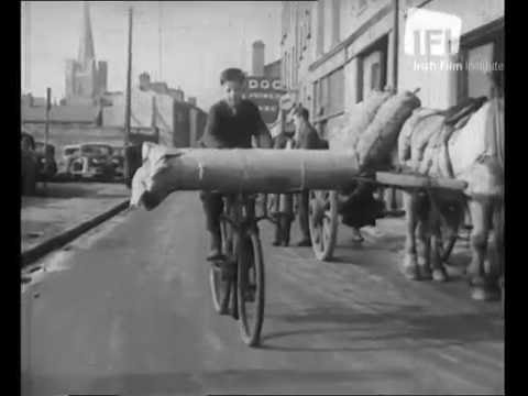 Cycling in Dublin 1940s.IFI film.
