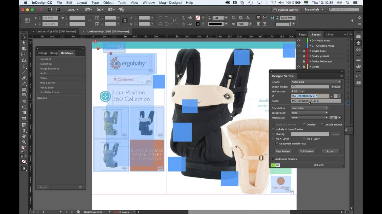 Using the Adobe Digital Publishing Suite (DPS) Overlay Document to