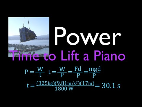 Physics, Power, Time to Lift Object with Known Mass and Motor Power