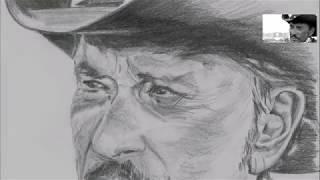 R.I.P. - Johnny Hallyday est mort - Que je t'aime - Timelapse portrait crayon