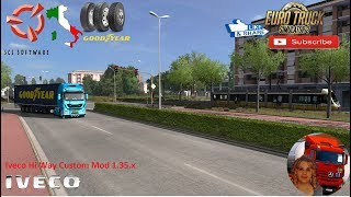 Euro Truck Simulator 2 (1.35)   Iveco Hi Way Custom Mod 1.35.x Goodyear Roll-Out event World of Trucks Goodyear Tyres Pack DLC Milan to Bologna DLC Italy by SCS Software Beautiful Milan Tram + DLC's & Mods http://www.modhub.us/euro-truck-simulator-2-mods/