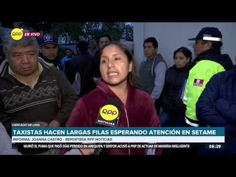 Cercado De Lima: Taxistas Formaron Largas Filas Ante Setame Para Obtener Permiso De Operación