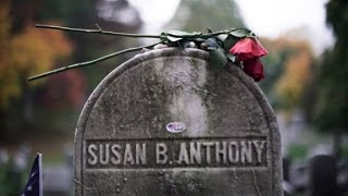'I voted' stickers put on Susan B. Anthony...