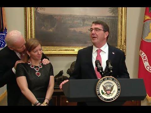 Joe Biden Puts His Hands on Ash Carter's Wife